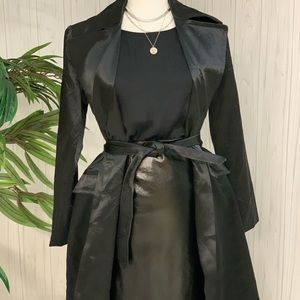 Black satin like trench coat